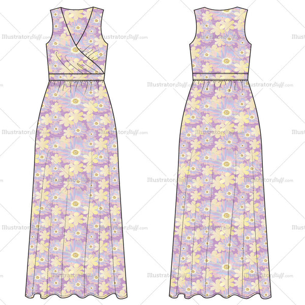 Women's Surplice Neck Floral Print Maxi Dress Fashion Flat Template
