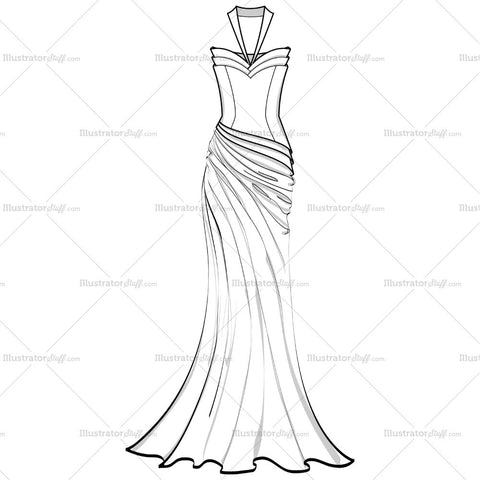 Women's Tier Corset Drape Evening Gown