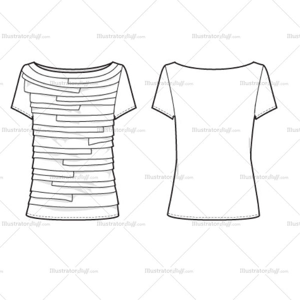 Women's Tiered Tee Fashion Flat Template