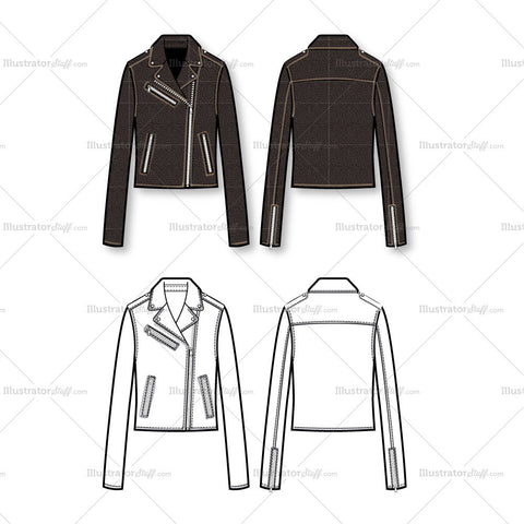 Tipped Leather Moto Jacket Flat Template