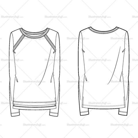 Women's Knit Long Sleeves Fashion Flat Template