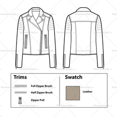 Trapunto Shoulder Leather Moto Jacket Flat Template