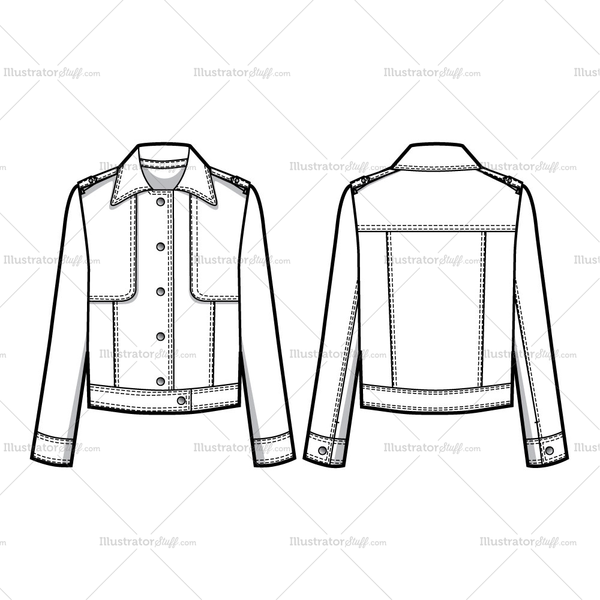 Trucker Jacket With Storm Flaps Flat Template