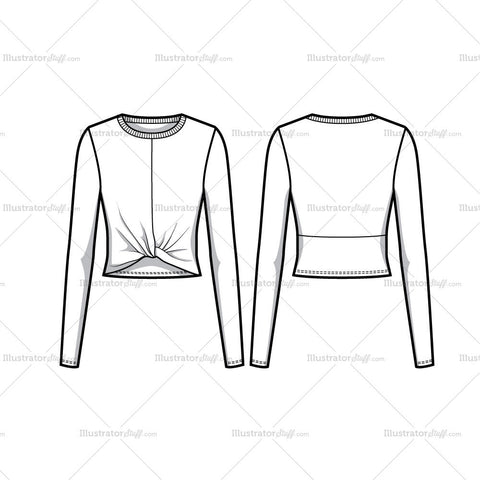 Twisted Crop Top Flat Template