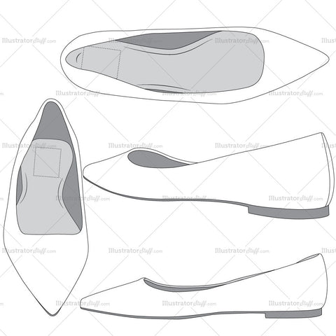 Ballet Flats Fashion Flat Template