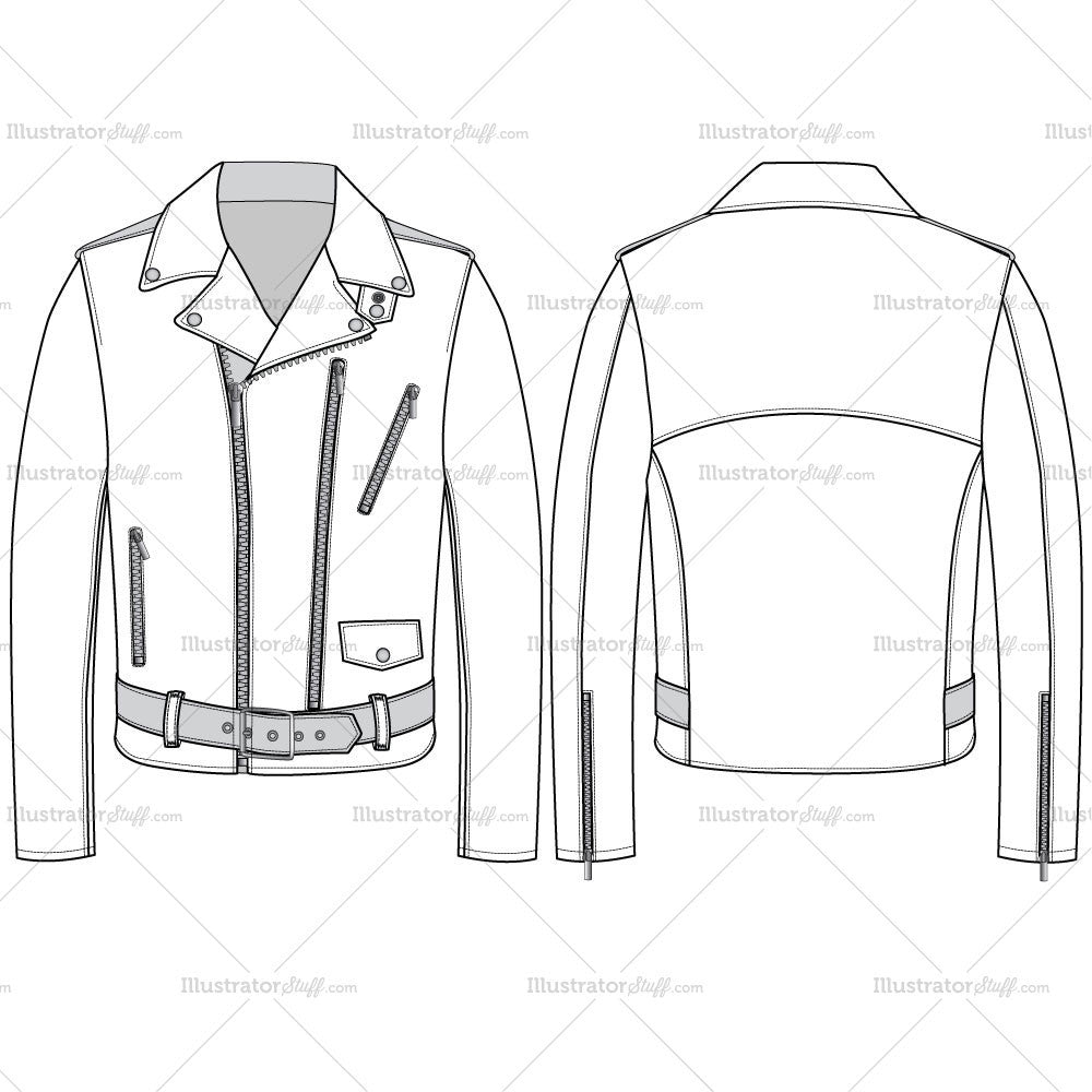 men s leather jacket fashion flat template templates for fashion
