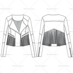 Cropped Fringe Leather Jacket Fashion Flat Templates.