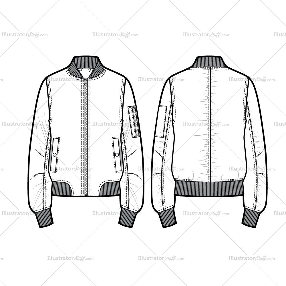 Line Drawing Jacket : Unisex urban bomber jacket flat template illustrator stuff