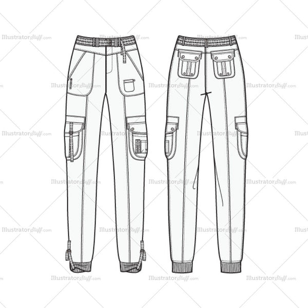 Women's Utility Jogger Pants Fashion Flat Template