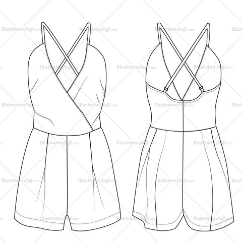 V-neck Open Back Romper Fashion Flat Templates