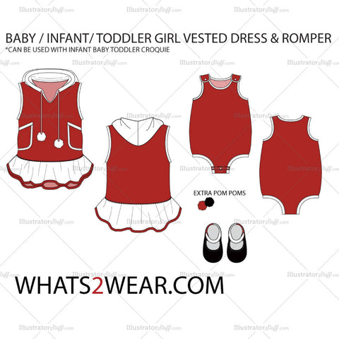 Baby / Infant Vested Dress & Romper Fashion Flat Template