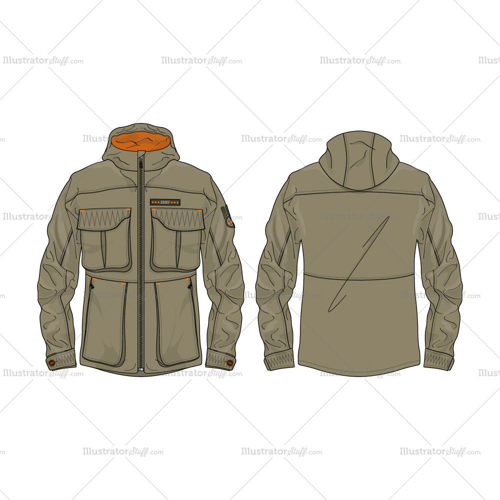 mens army field jacket vector fashion flat template