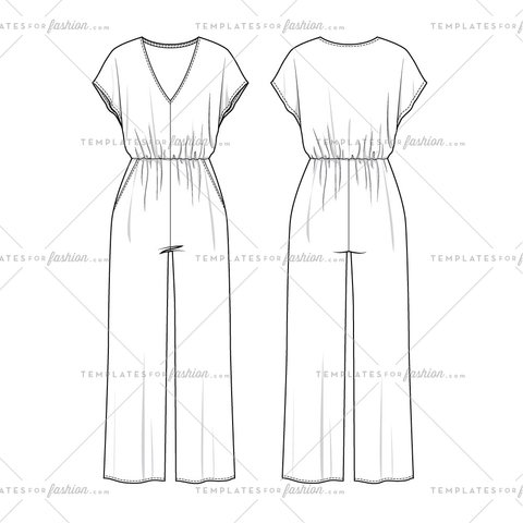 Women's sketch of a V-neck Extended Cap Sleeve Jumpsuit
