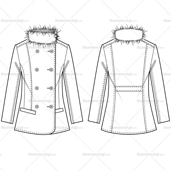 fe80fd5e174 Women's Fur Blazer Fashion Flat Template – Templates for Fashion