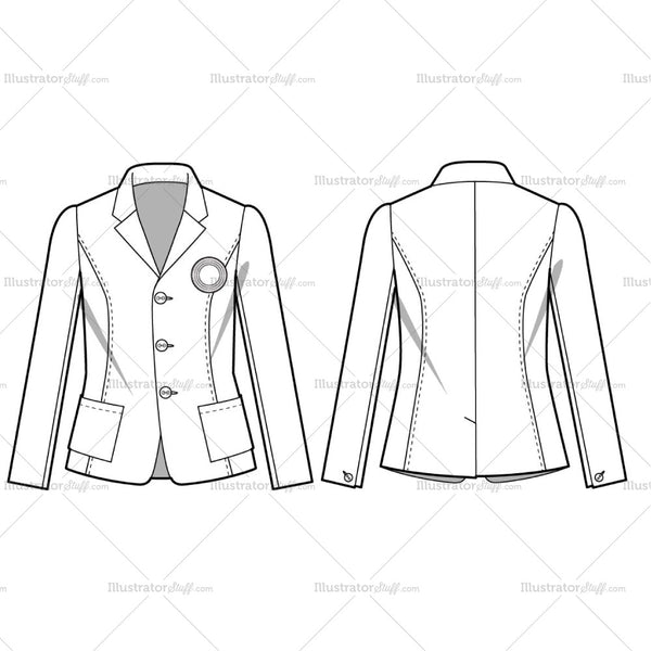 Women's Casual Blazer Fashion Flat Template