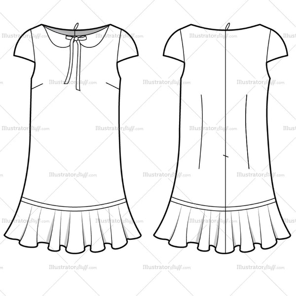 Women's Collar Dress Fashion Flat Template