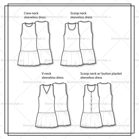 Variety Basic Dress Flat Template Flat Template