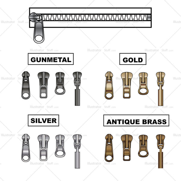 Various Metal And Zipper Pulls With Zipper Brush Pattern