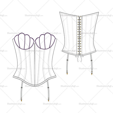 Women's Mermaid Corset Fashion Flat Template