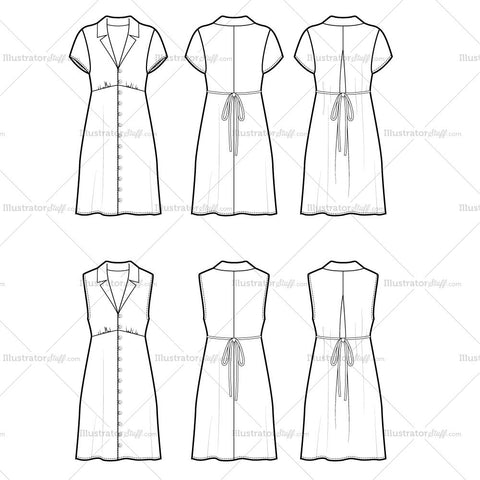 Vintage Shirt Dress Flat Template