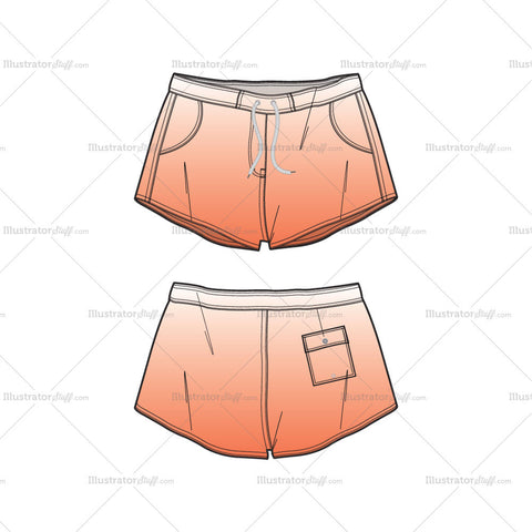 Women's Short Body Beach Shorts Fashion Flat Template
