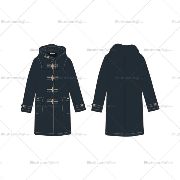 Women's Classic Duffle Coat Fashion Flat Template