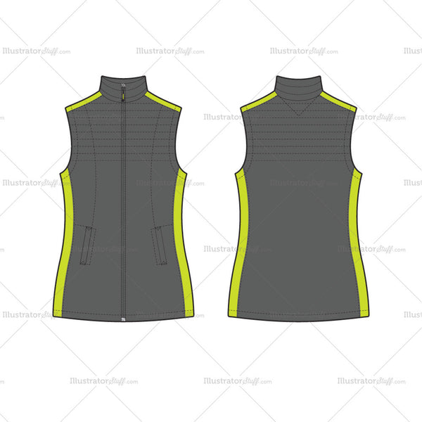 Women's	Sport Outdoor Puffer Vest Fashion Flat Template
