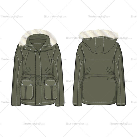 Women's Forest Green Parka Jacket Fashion Flat Template