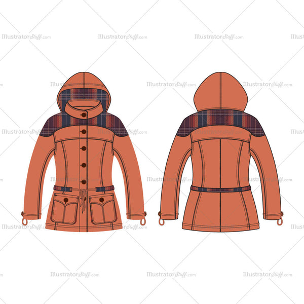 Women's Classic Anorak Jacket with Scottish Plaid Fashion Flat Template