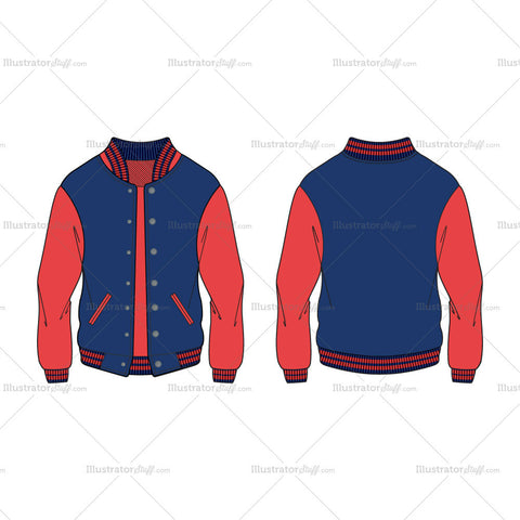 Women's Sport Varsity Jacket Fashion Flat Template