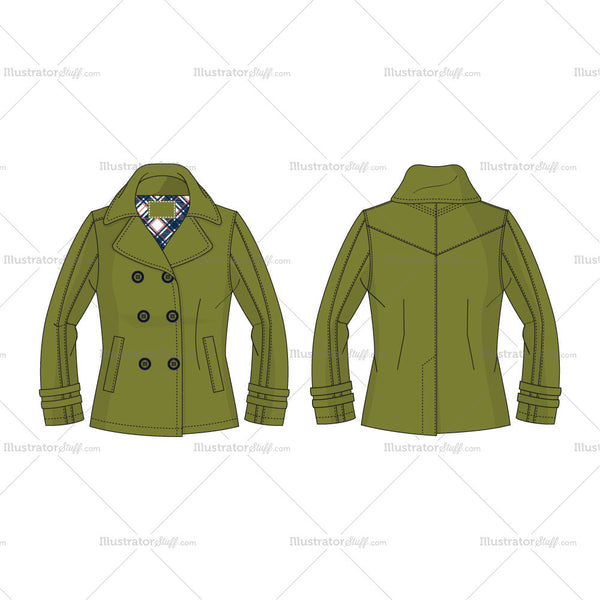 Women's Olive Green Pea Coat Fashion Flat Template