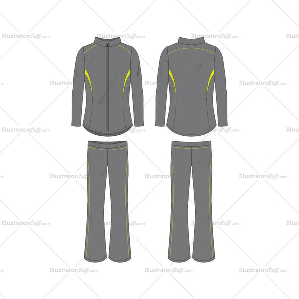 Women's Set of Running Jacket and Pants Fashion Flat Template