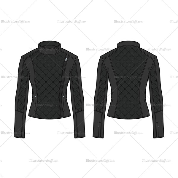 Women Black Leather Biker Jacket Fashion Flat