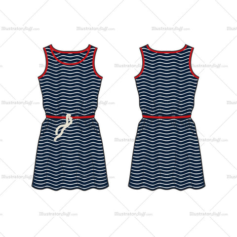 Women's Striped Frock Dress Fashion Flat Template