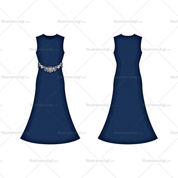 Women's Deep Blue Evening Dress Fashion Flat Template