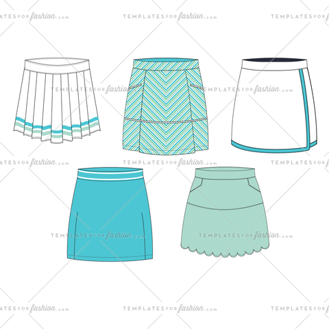 WOMEN'S GOLF SKIRTS FASHION FLAT VECTOR TEMPLATE