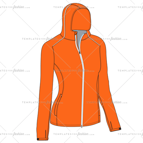 WOMEN'S HOODED RAIN JACKET FASHION FLAT VECTOR FILE