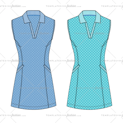V-neck Shirt Dress Fashion Flat Vector Template