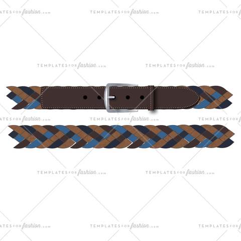 WOVEN COLORBLOCK LEATHER BELT FASHION FLAT VECTOR FILE