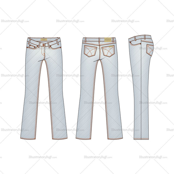 Women's Light Stone Washed Straight Leg Denim Jeans Fashion Flat Template