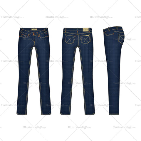 Women's Slim Fit Denim Jeans Fashion Flat Template