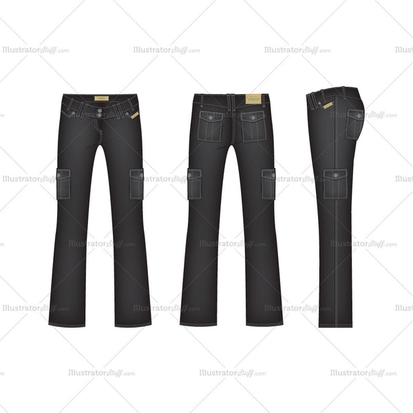 Women's Black Denim Cargo Pants Fashion Flat Template