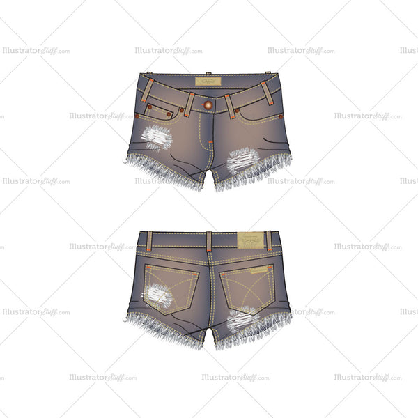 Women's Street Denim Shorts with Frayed Edges Fashion Flat Template