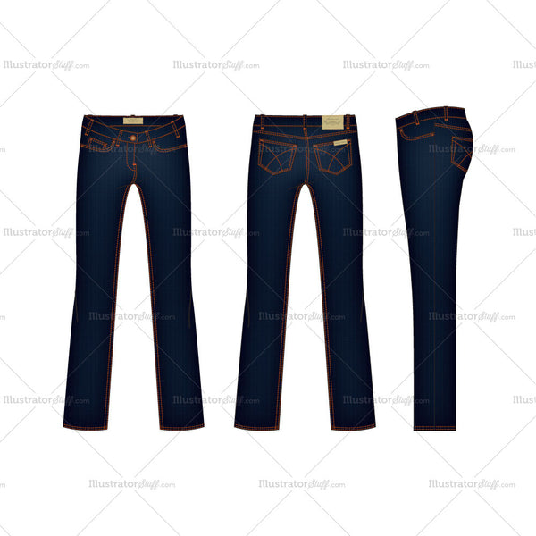 Women's Regular Fit Denim Jeans Fashion Flat Template