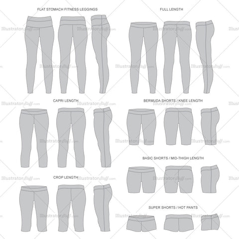 Set of 7 Grey Yoga Pants Fashion Flat Template