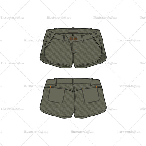 Women's Low Rise Cotton Shorts Fashion Flat Template