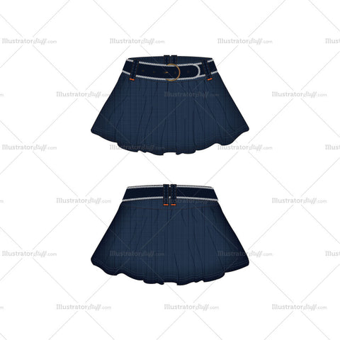 Women's Denim Skirt with Flares Fashion Flat Template