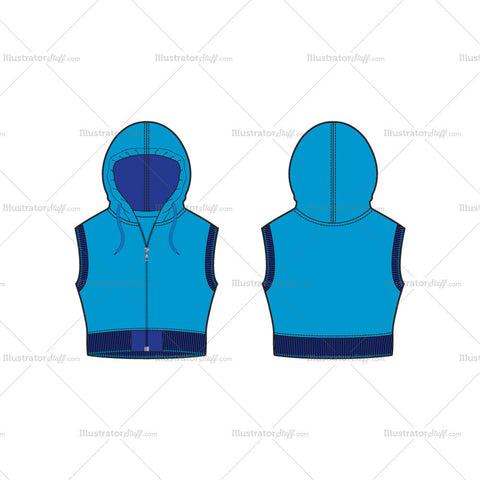 Women's Crop Hoodie Vest Fashion Flat Template