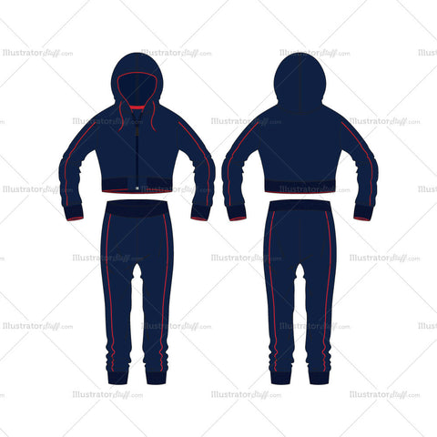Women's Sport Training Tracksuit Fashion Flat Template