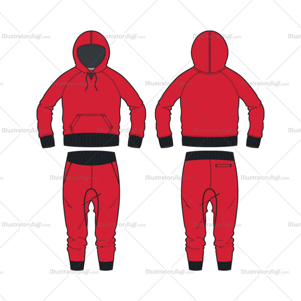 Women's Fitness Hoodie and Drop Crotch Pants Fashion Flat Template